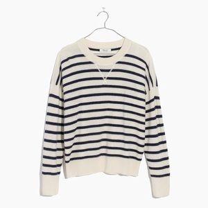 Madewell Cashmere Sweatshirt in Stripe - XS